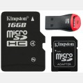 Micro SD 16Gb minne med adapter, Kingston