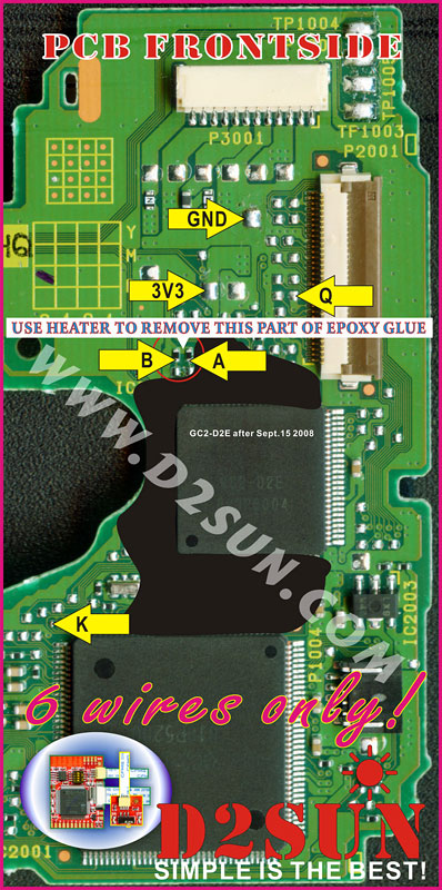 mod chips dsun chip v for nintendo wii wiiclip 6 wires install diagram for v3 x on the epoxy d2e and d2c2 wii