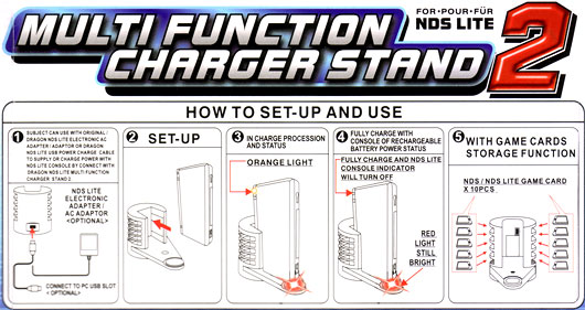 Multi function charger and stand for Nintendo DS Lite