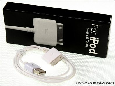 iPod cable, USB 2.0 sync and charging