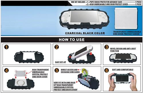 Shock Protector Advance 2 in 1 for PSP Slim (Black)