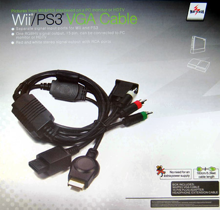 VGA cable for Wii and PS3 (to PC monitor or HD TV)